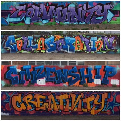 Four walls of graffiti with text